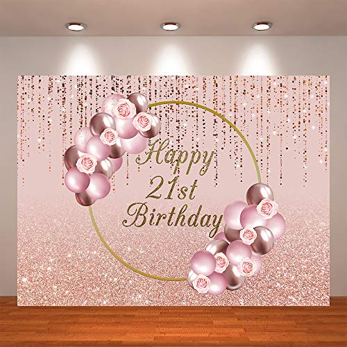 Crefelicid 7x5ft Happy 21st Birthday Backdrop Rose Gold Flowers Pink Balloon 21 Birthday Background for Party Decorations Banner Photo Booth Supplies