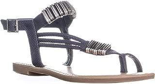 Bar III B35 Vera Glitter Toe Ring Flat Sandals, Navy, 6 US
