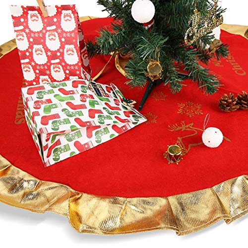 Herefun Baumdecke Rot Gold 90cm Durchmesser, Weihnachtsbaum Unterlage mit Weihnachtsmotiv, Tannenbaum-Unterlage Plüsch Christbaumständer, Baumdecke Weihnachtsbaum für Christmas(Fröhliche Weihnachten)