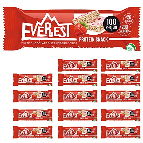 Everest Snacks Protein Snack - Healthy Protein Bars - Low Sugar, Low Calorie Guilt-Free Sports Bars - High in Fibre and Protein - 15 x 40g Protein Bars - White Chocolate & Strawberry Crisp