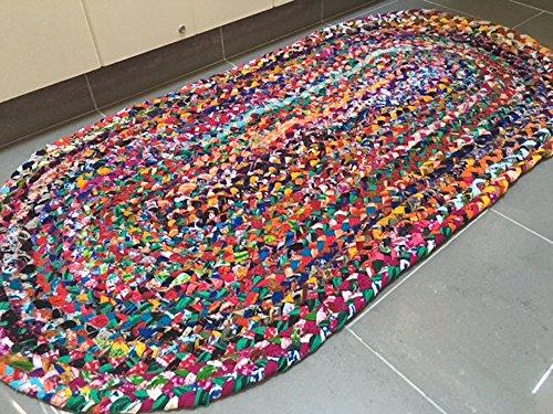 Second Nature Online Sundar Ovaler geflochtener Stoffteppich, handgewebt aus mehrfarbigem recyceltem Material 60cm x 180cm Oval multi