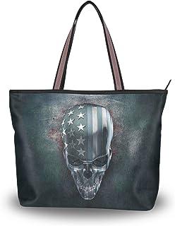Große Umhängetasche mit Totenkopf-Muster, Handtasche, Strandtasche für Frauen und Mädchen