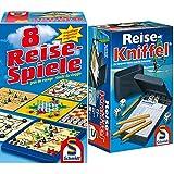 Schmidt Spiele 49102 - 8 Reise-Spiele, Spielesammlung, magnetisch, bunt & 49091 Reise-Kniffel mit Zusatzblock, bunt