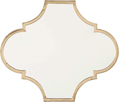 Benjara 18.75 Inches Quatrefoil Metal Encased Accent Mirror, Gold