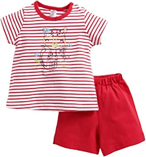 Zero by Hopscotch Boys' Cotton Stripe Print Half Sleeves T-Shirt with Shorts in Red Colour