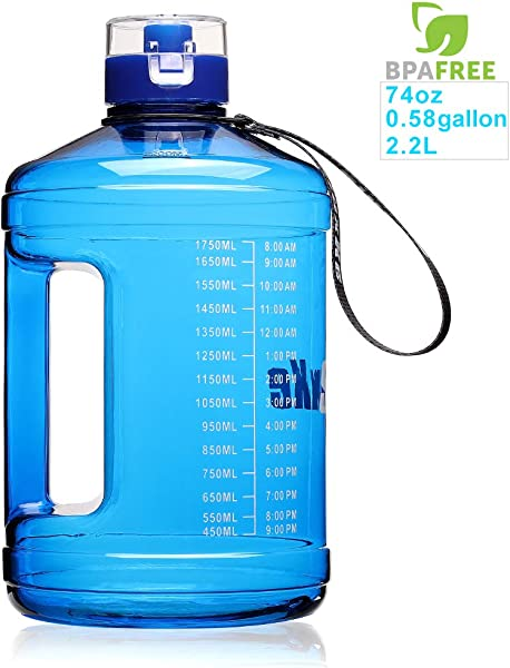 SIuxKe 1 Gallon Big Water Bottle Motivational Fitness Workout With Daily Time Marker Reusable Leak Proof Clear BPA Free Water Jug For Indoor Outdoor Camping Hiking Gym Running 128OZ 74OZ Capacity