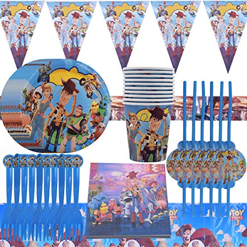WENTS Vajilla Diseño de Toy Story Desechable Accesorio de Decoración de Fiesta de Cumpleaños Apoyo para Celebración Pancarta Platos Vasos Servilletas y Mantel Resistente, 52pcs