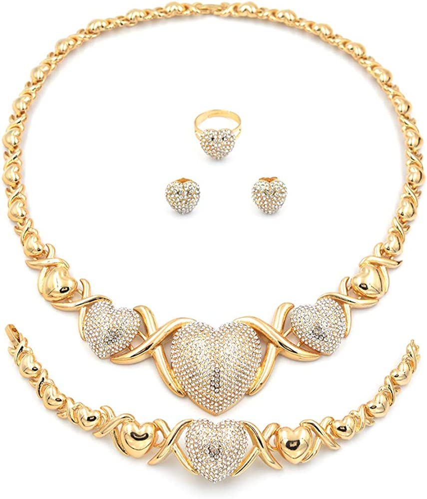 005 Giffor African XOXO Jewelry Sets Hugs and Kisses Necklace Sets Women 14K Gold Filled Bracelets Stud Earrings and Rings