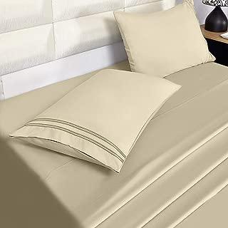 Eternal Moment Bed Sheet Set Brushed Microfiber, Wrinkle, Fade, Stain Resistant, 4pc Sheet Set- - Beige, Twin