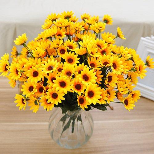 dontdo 1 Blumenstrauß, 14 Köpfe, künstliche Blumen, künstliche kleine Sonnenblume, für Zuhause, Hochzeit, Tischdekoration mehrfarbig
