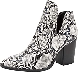 ⭐ Futurelove ⭐ Women Buckle Shoes Boots Snakeskin Pattern Thick Pointed Booties