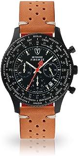DETOMASO Firenze Mens Watch Chronograph Analogue Quartz Brown Racing Vintage Leather Strap Black Dial SL1624C-BK1-843