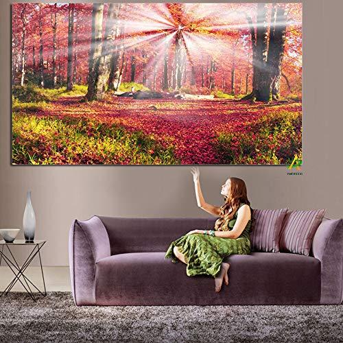 Wald mit Sonnenschein Herbst Landschaft Leinwand Malerei HD Print Bild auf Leinwand Moderne Wandkunst Dekor 30x50cm