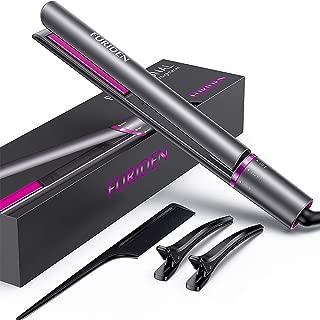 FURIDEN Hair Straightener Flat Iron, 2 in 1 Straightener and Curling Iron Ceramic, Travel Flat Iron for Hair Dual Voltage, Hair Iron Straightener and Curler. (Grey)