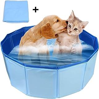 犬 プール ペット用バスグッズ バスプール バスタブ 折り畳み PVC複合素材 耐摩 防水 底面水抜き栓付き 夏 猫 小型犬 中型犬 お風呂ために 屋内屋外用 60cm*20cm(ブルー)