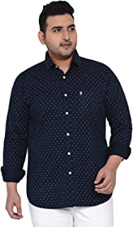 JOHN PRIDE Plus Size Men Long Sleeves Floral Printed Navy Blue Stretchable Casual Shirt