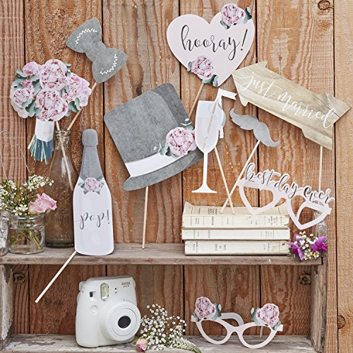 Ginger Ray Retro Wedding Day Photobooth Rustikales Land, mehrfarbig