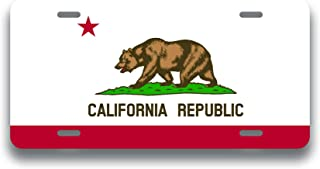 Decals Home Decor & More California State Flag License Plate Tag Vanity Novelty Metal   UV Printed Metal   6-Inches by 12-Inches   Car Truck RV Trailer Wall Shop Man Cave   VLP030