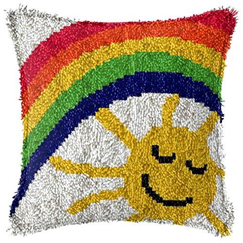 QAZWSX Crochet Kit Verriegelungshaken Kits for Erwachsene, DIY Cartoons Theme Teppichkissen Häkeln Kissenbezug Teppich, Latch Haken Kits, for Kinder/Erwachsene Anfänger handgefertigt
