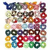 Queta 50 piezas de Scrunchies elástico de gasa Scrunchy de pelo terciopelo 50 colores Velvet hair Scrunchies Coleteros de tela Gomas de pelo Accesorios para el cabello para mujeres y niñas
