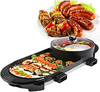 Xue-shelf Professional Electric 2 in 1 BBQ Hot Pot Korean BBQ Grill with Electric BBQ Pan and Hotpot, Smokeless Grill Indo...