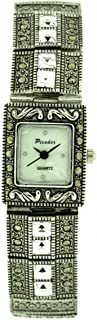 Picador Marcasite Watch Antique Metal Finish Clear White Crystals Analogue Quartz with One Extra Battery