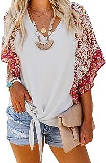 Asvivid Womens Boho Floral Printed V Neck Bell Short Sleeve Summer Shirt Loose Tops and Blouses
