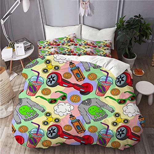 PENGTU Duvet Cover Set,hoverboard fidget spinner vape ecigarettes smoothie,Bedroom,Dorm room,Decorative 3 Piece Bedding Set with 2 Pillowcase,King Size