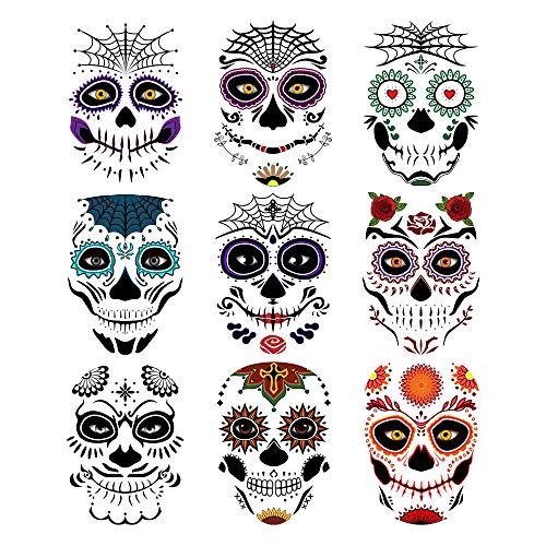 Day of the Dead Sugar Skull Temporary Face Tattoo Kit, 9 PCS Web Face...