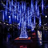Yztree Upgraded Meteor Shower Rain Lights, 50cm 10 Tubes 540 LED Falling Rain Drop Christmas Light, Waterproof Cascading Lights for Holiday Party Wedding Christmas Tree Decoration Blue