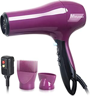 MYONAZ 1875 Watt Hair Dryer with Straightening Comb and Air Concentrator/Powerful and Quiet Blow Dryer with Nozzle - Create Salon Volume at Home up to 80% Faster with Less Frizz (Purple)