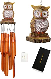 Gifts for Women Mom, Wives, Girlfriends, Christmas, Owl Bamboo Wind Chimes, Built-in Wood Chip and Greeting Cards, Draw Pi...