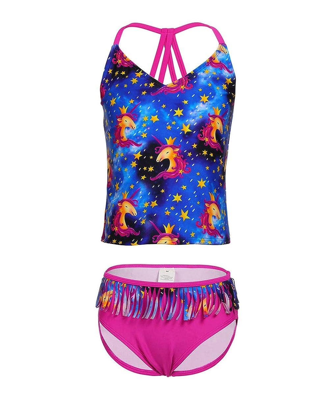 BELLOO Girl's Cross Straps Two Piece Tankini Swimsuit