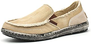 BEFAiR Men's Canvas Shoes Vintage Slip-on Loafers Flat Boat Shoes