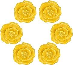WOLFTEETH Elegant Rose Flower Knobs Vintage Ceramic Pulls Kitchen Cabinet Dressing Table Dresser Handle 5-6pcs, Yellow