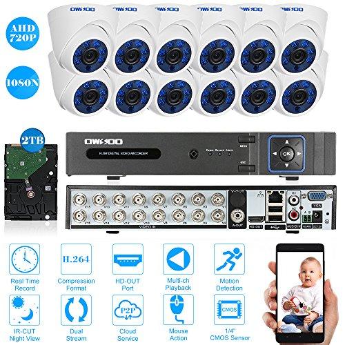 OWSOO Kit Videosorveglianza H.264 Full 1080N DVR + AHD Interno Dome CCTV Camera + 60ft Cavo di Sorveglianza Rilevamento del Movimento Visione Notturna per CCTV Sistema di Sicurezza Pal