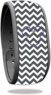 MightySkins Skin Compatible With Disney Magic Band – Gray Chevron | Protective, Durable, and Unique Vinyl Decal wrap cover | Easy To Apply, Remove, and Change Styles | Made in the USA