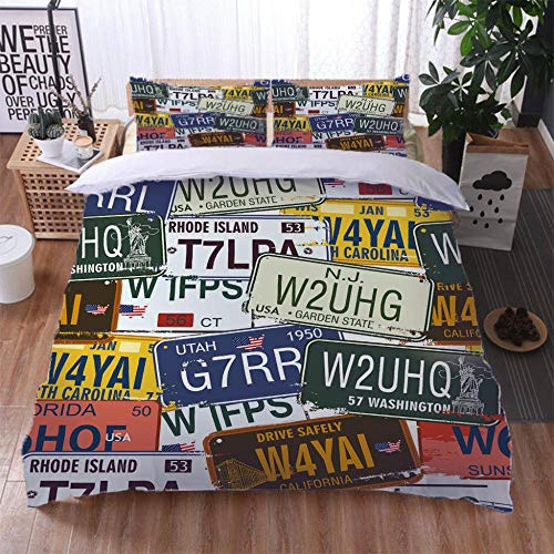 TUJOJO King Duvet Cover Set 230X220Cm U.S. License Plate Quilt Cover Bedding Set With Zipper Microfiber Bedding Quilt Cover With 2 Pillowcases For Kids Teens Adults,