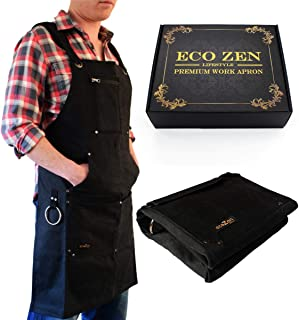 Shop Apron - Waxed Canvas Work Apron with Pockets | Waterproof, Fully Adjustable to Comfortably Fit Men and Women Size S to XXL | Tough Tool Apron to Give Protection and Last a Lifetime (Light Black)