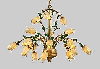 Lámpara de araña antigua LED, lámpara colgante clásica en estilo florentino, cristal, diseño de tulipanes, 21 focos, para dormitorio, comedor, salón, blanco cálido, 92 x 56 cm, G9 x 21