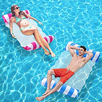 Swimming Pool Float Hammock for Adults 2-Pack Inflatable Water Hammock Lounge Swimming Pool Lounger with a Manual Air Pump Inflatable Pool Chairs to Beach