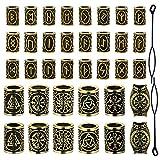 YMHPRIDE 36 pezzi di perle per barba vichinga Perline antiche del tubo dei capelli norvegesi Perline Dreadlocks per intrecciare i capelli Braccialetto Pendente Collana Gioielli fai da te (oro antico)