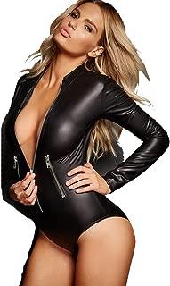 Women's Black Faux Leather Wet Look Zipped Bodysuit Zipper Detail Long Sleeve Playsuit Various Size