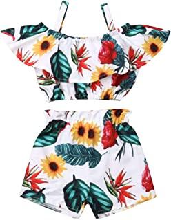Toddler Kids Baby Girl Floral Halter Ruffled Outfits Clothes Tops+Shorts 2PCS Set