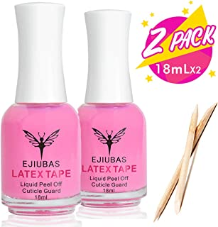 Liquid Latex for Nails Cuticle Guard - Ejiubas Peel Off Liquid Latex for Nail Stamping Kit Nail Protector Nail Polish Barrier Skin Nail Liquid Tape 2 Bottles with 10pcs Wooden Sticks