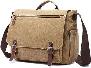 iCozzier Laptop Messenger Bag 15.6 inch Canvas Cross-Body Shoulder Bag Waterproof Leather Satchel Briefcase for School/Bus...