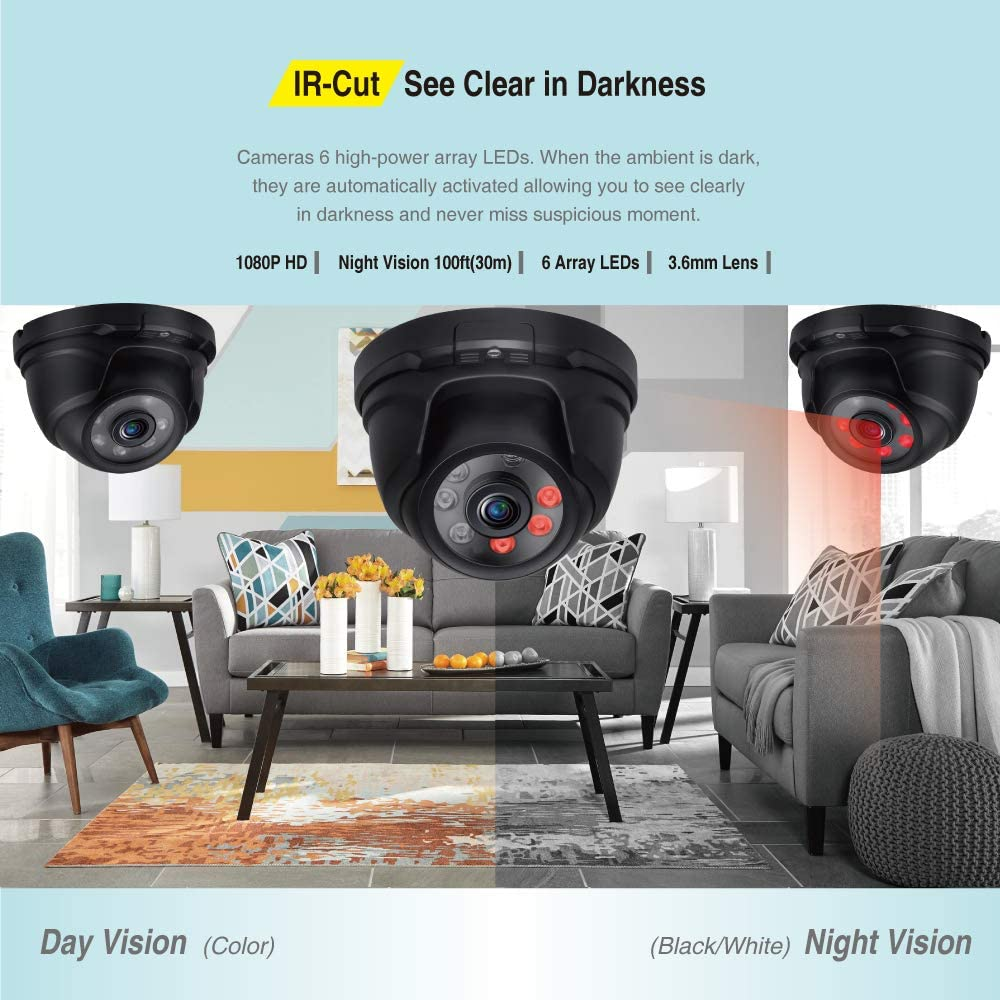 5-in-1 Surveillance DVR with 2TB Hard Drive and 8 Tonton 8CH Full HD 1080P Expandable Security Camera System 2.0MP Waterproof Outdoor Indoor Dome Camera Black Free APP Remote Viewing and Email Alert with Image