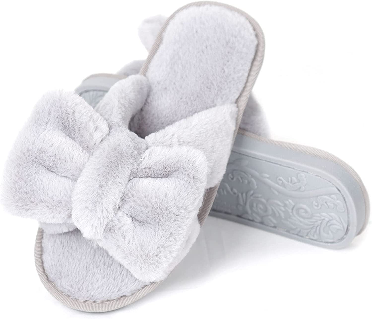 Women's Bow tie Slippers Soft Super-cheap Plush Ranking TOP1 Sh Cozy House Open Furry Toe
