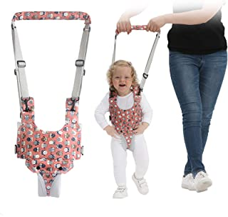 Handheld Baby Walking Harness for Kids, Adjustable Toddler Walking Assistant with Detachable Crotch&Bib, Safe Standing & Walk Learning Helper for 8+ Months Baby (Pink Owl)