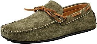 XFQ Chaussures Bateau pour Homme, Mode Chaussures Casual Frosted Cuir Sole Chaussures Mode De Conduite Légère D'été,Vert,47EU